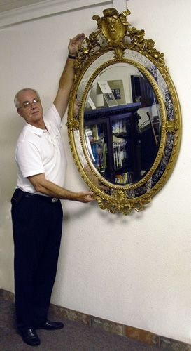 21: FRENCH VICTORIAN ETCHED MIRROR