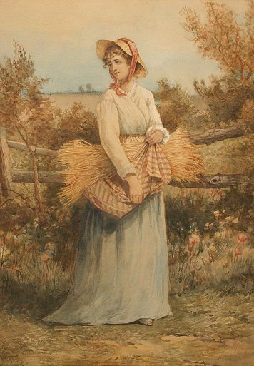 22: MAIDEN WITH HAY PAINTING SIGNED HOBSON