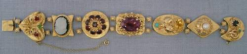 211 14k GOLD SLIDE BRACELET GARNET AMETHYST PEARL ETC