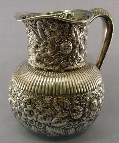 1: GORHAM STERLING REPOUSSE WATER PITCHER Ca. 1888