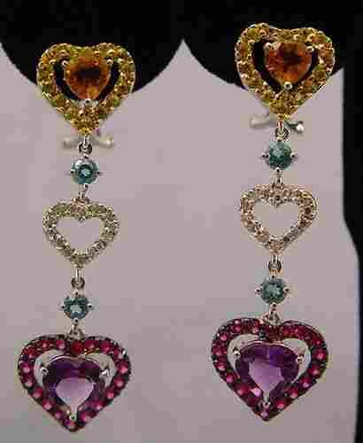 392: SAPPHIRE AMETHYST DIAMOND DROP EARRINGS 14K 8.5GRM