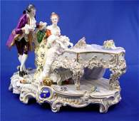 317 LARGE DRESDEN PORCELAIN FIGURAL GROUP piano