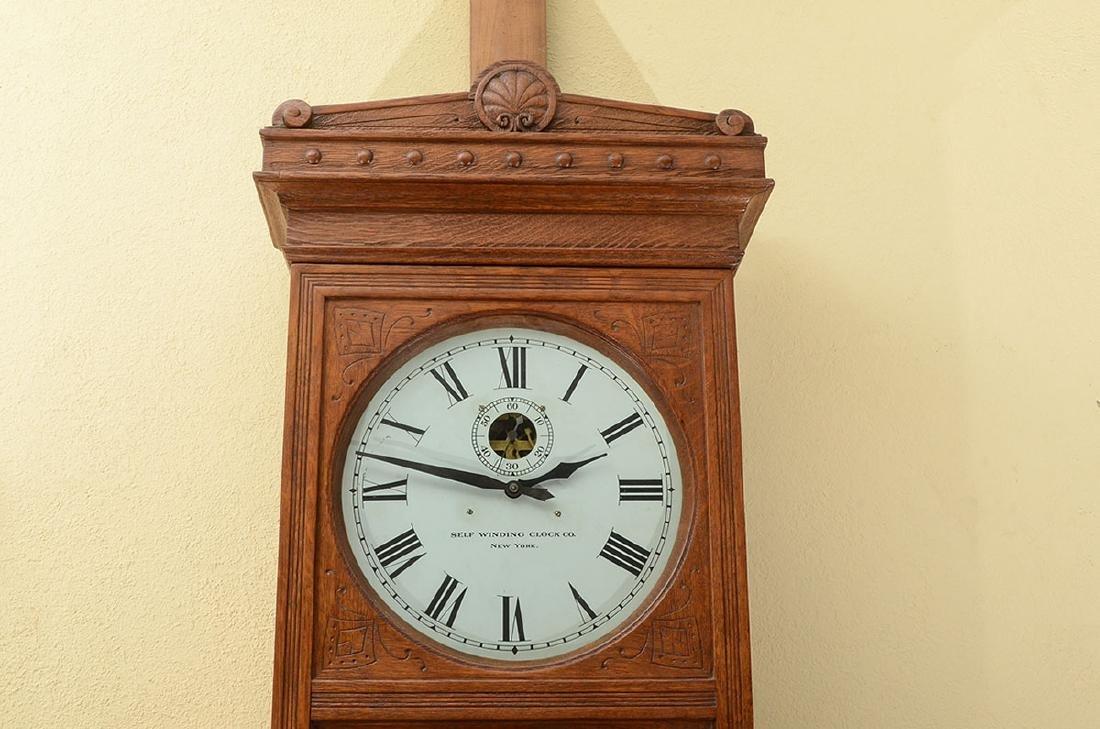 SELF WINDING #9 OAK JEWELERS REGULATOR CLOCK - 2