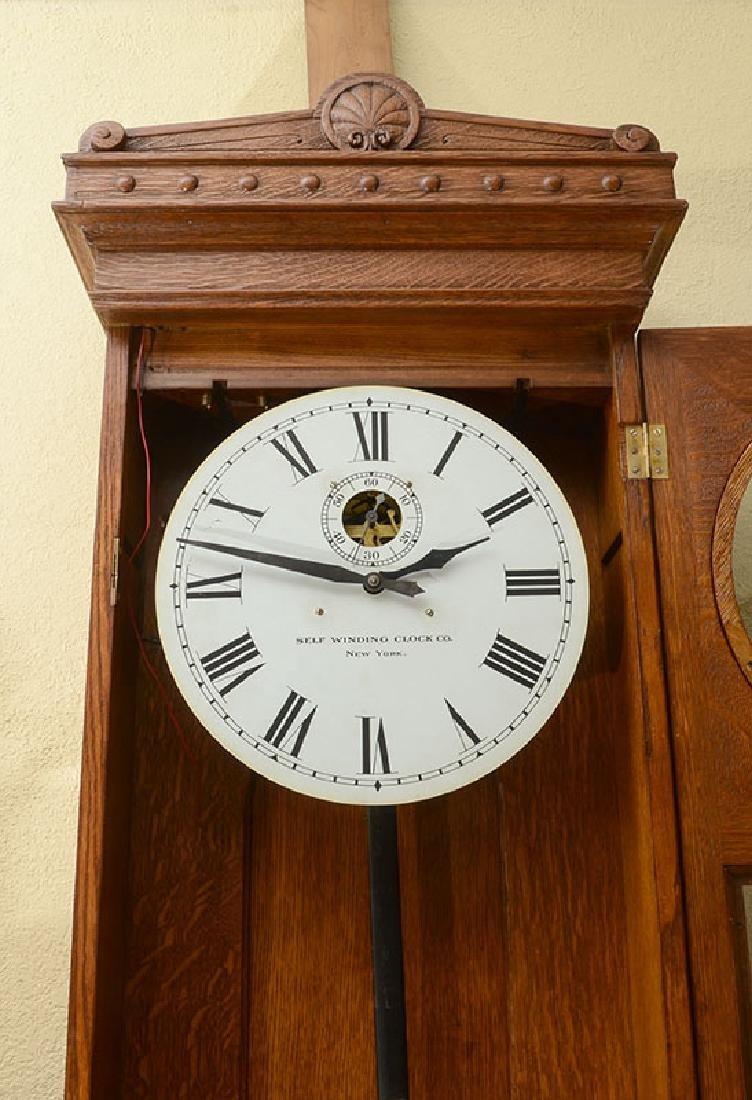 SELF WINDING #9 OAK JEWELERS REGULATOR CLOCK - 3