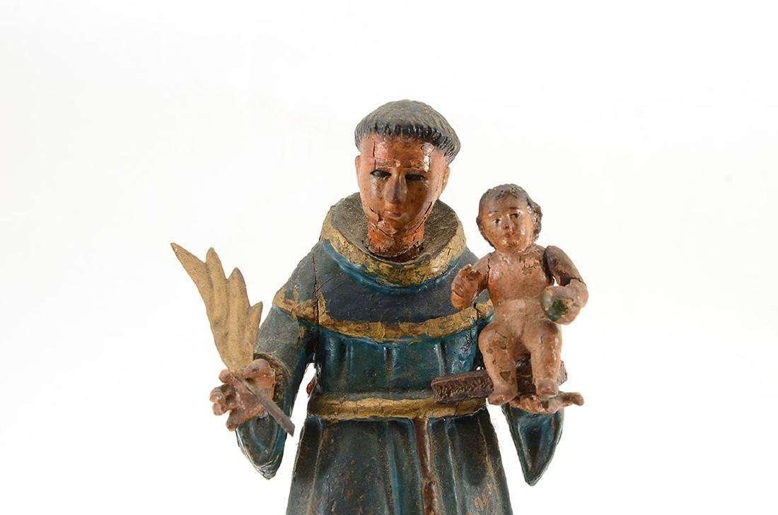 2 POLYCHROME CARVED SANTOS FIGURES - 3
