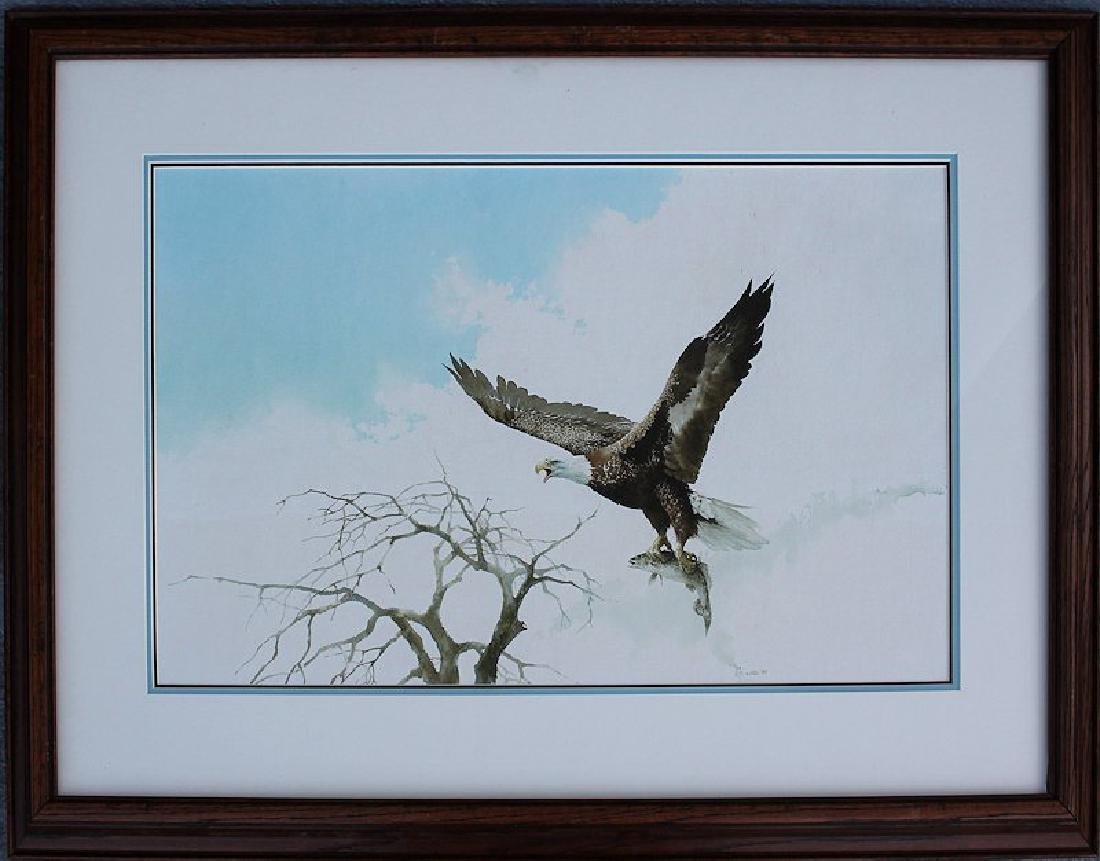 JAN WILLS SUPERB PAINTING OF EAGLE & TROUT - 2