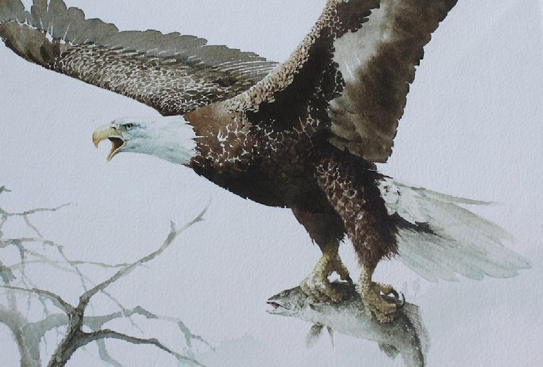 JAN WILLS SUPERB PAINTING OF EAGLE & TROUT - 3