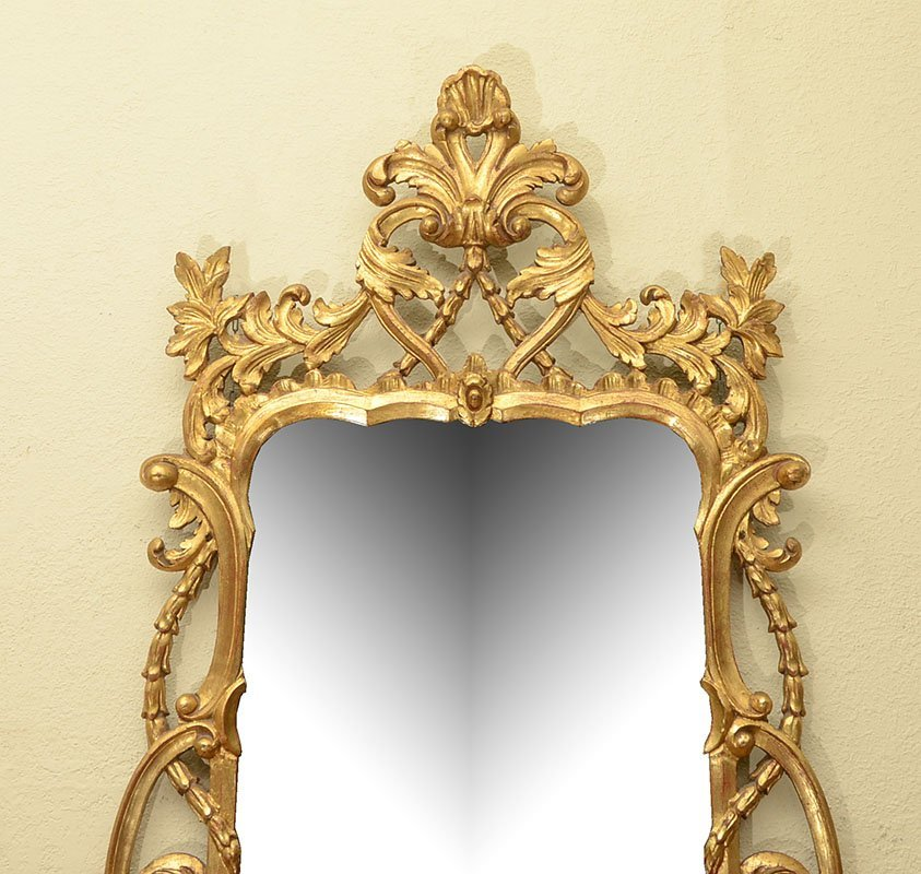LABARGE CARVED GILT WOOD ROCOCO STYLE MIRROR - 2