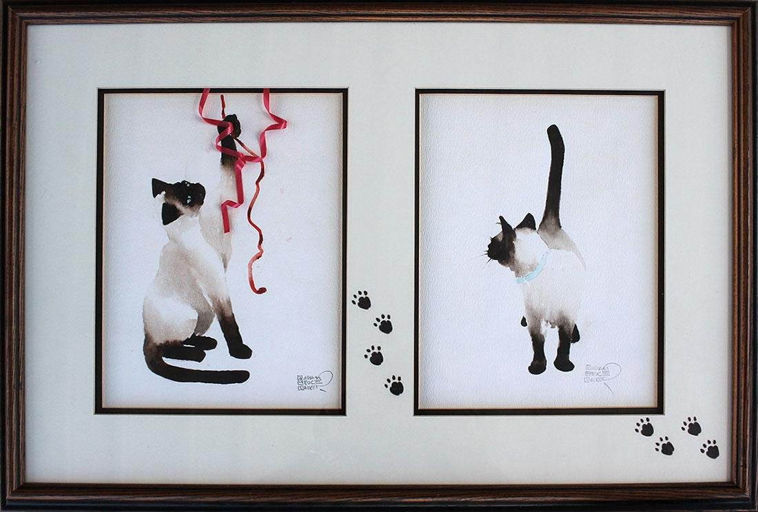 TWO FRAMED SIAMESE CAT PAINTINGS BY WILLIAM BRUCE