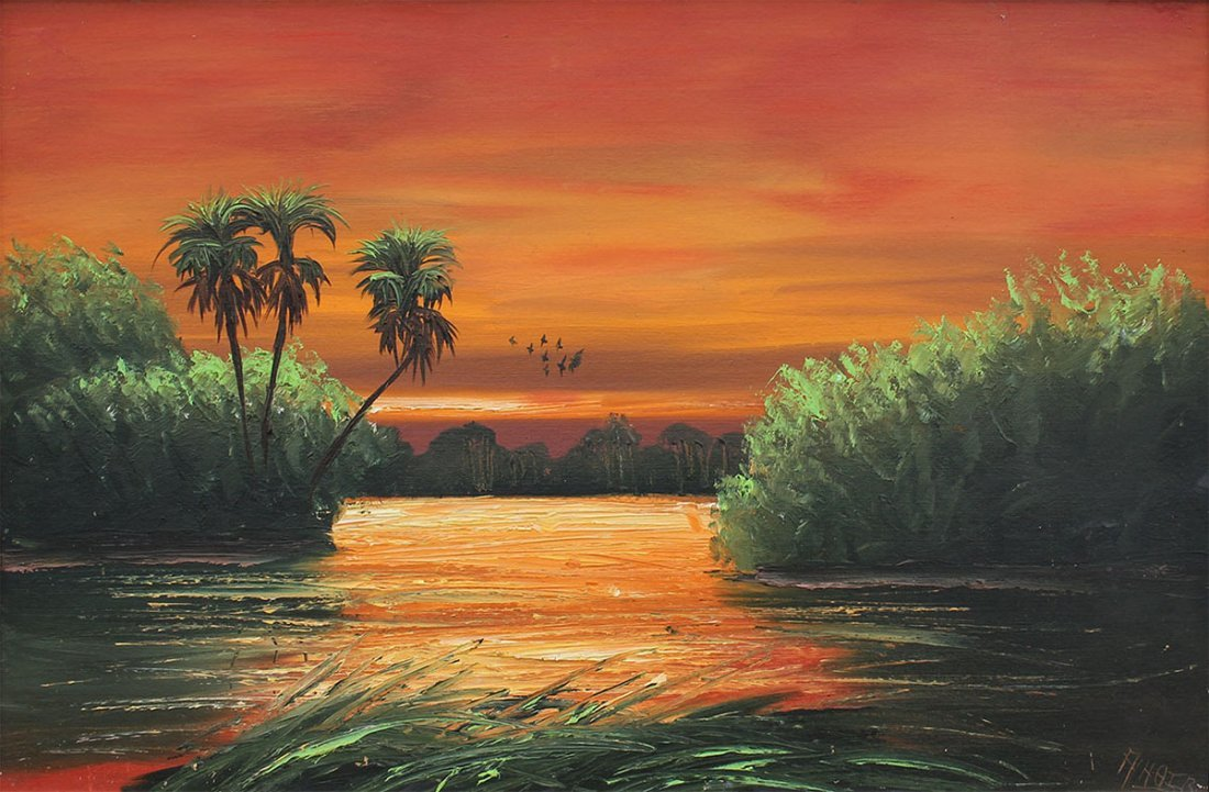 ALFRED HAIR FIRE SKY FLORIDA HIGHWAYMEN PAINTING