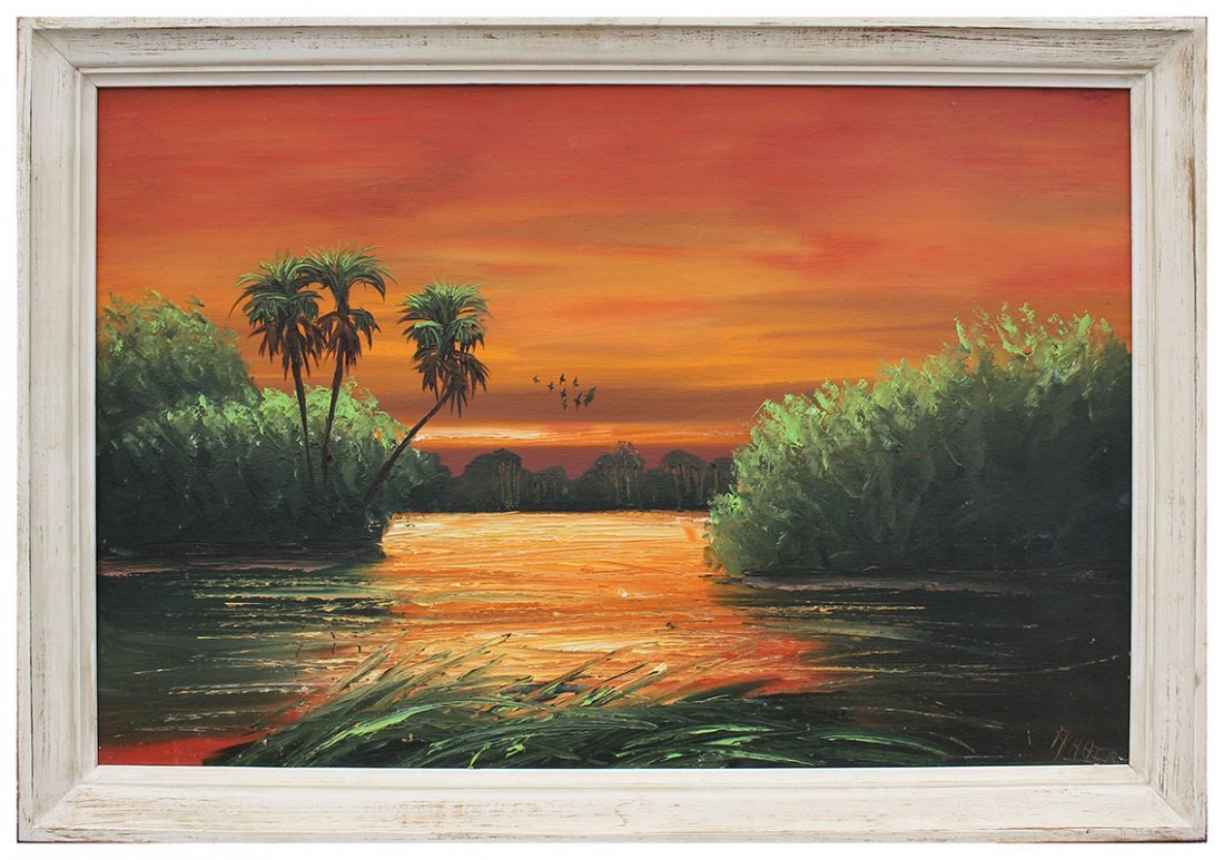 ALFRED HAIR FIRE SKY FLORIDA HIGHWAYMEN PAINTING - 2