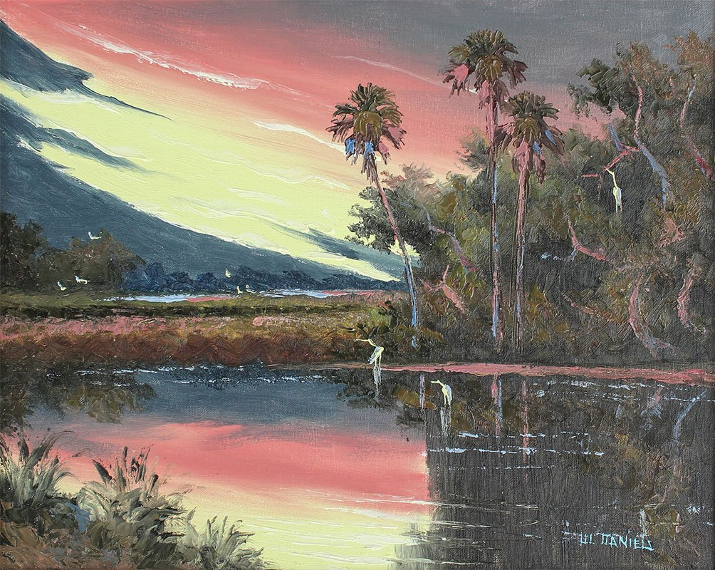 WILLIE DANIELS FLORIDA HIGHWAYMEN SUNSET PAINTING