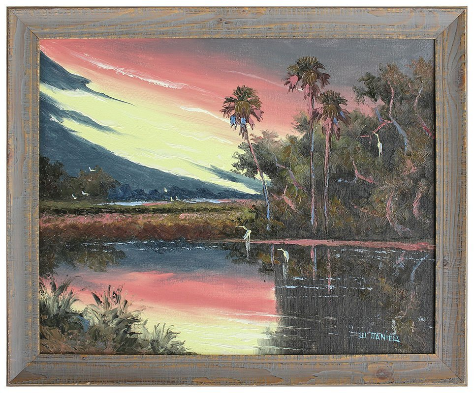WILLIE DANIELS FLORIDA HIGHWAYMEN SUNSET PAINTING - 2