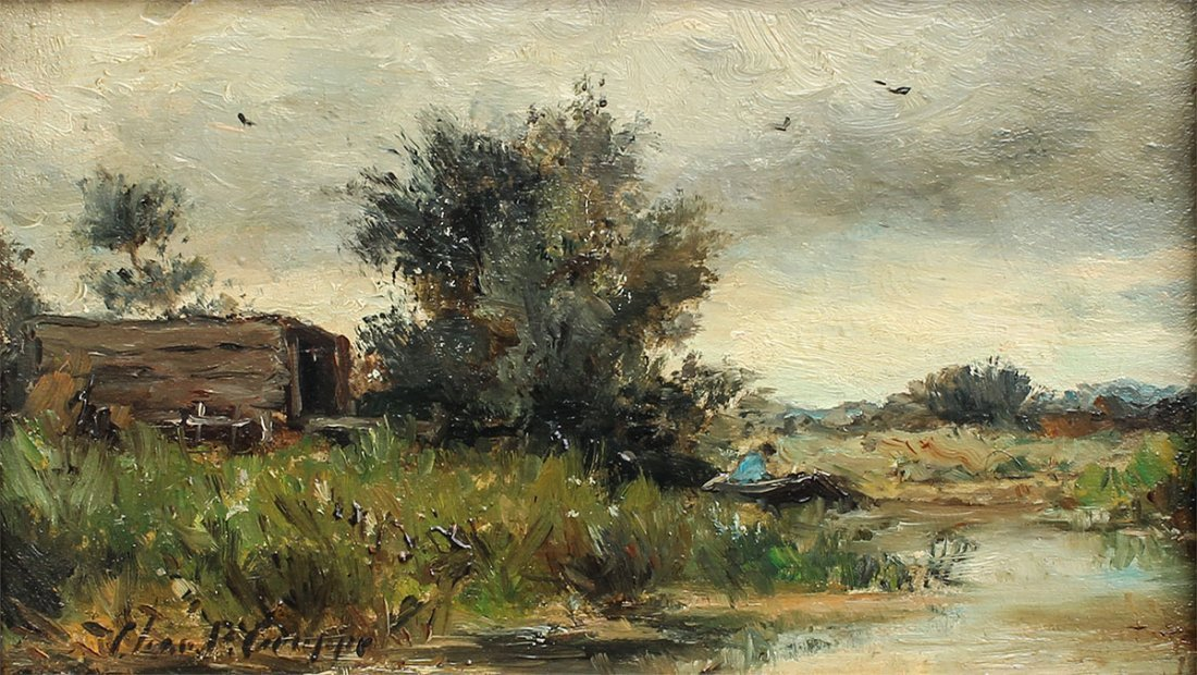 CHARLES GRUPPE RIVER LANDSCAPE PAINTING