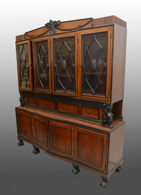 ORNATE ROSEWOOD CONTINENTAL BREAKFRONT CABINET