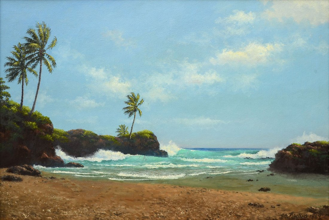 "A.E. ""BEANIE"" BACKUS BEACH PAINTING"