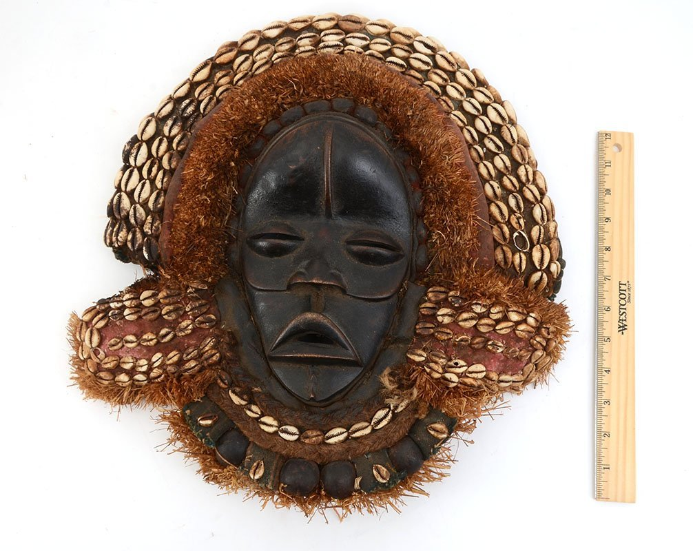 DAN TRIBE COWRIE SHELL AFRICAN MASK - 3