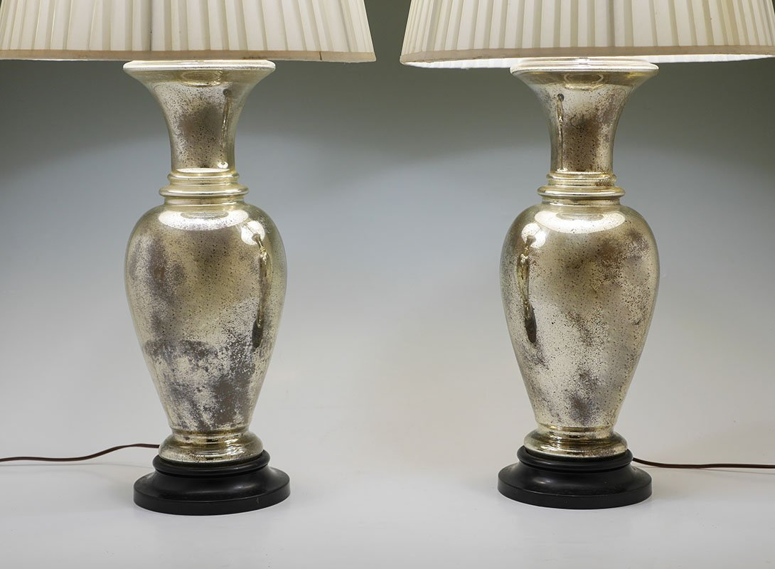 PAIR OF MERCURY GLASS TABLE LAMPS - 2