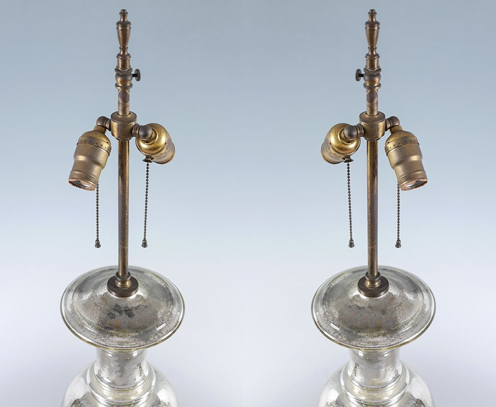 PAIR OF MERCURY GLASS TABLE LAMPS - 3