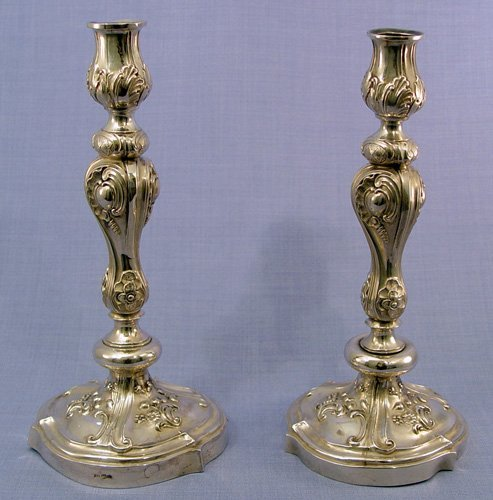 1006: PAIR RUSSIAN SILVER CANDLE HOLDERS  ca. 1870
