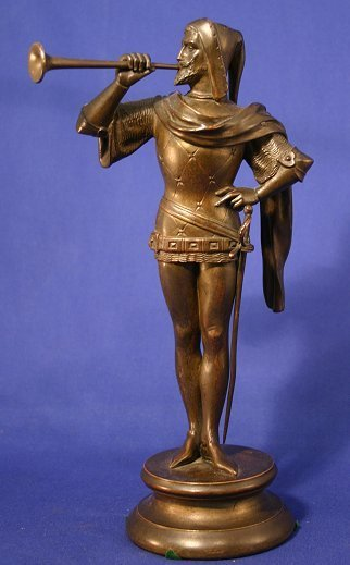 1021: BRONZE TRUMPETER SIGNED KELY