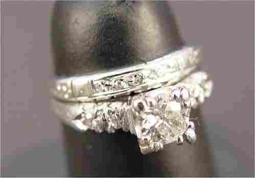 DIAMOND PLATINUM 14K GOLD BRIDAL SET 40PTS SZ3.5