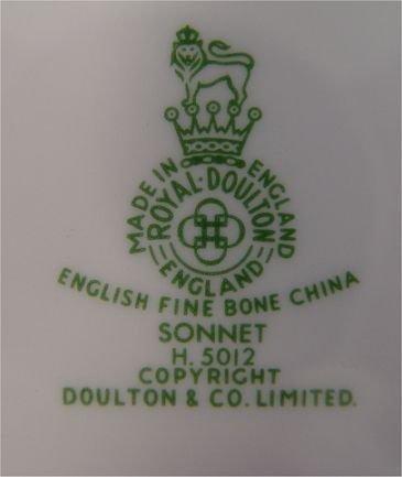 1181: SONNET FINE CHINA BY ROYAL DOULTON  52 PC  - 4