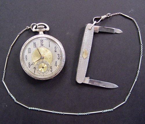 1295: HAMILTON POCKETWATCH 18k CHAIN ESEMCO POCKETKNIFE