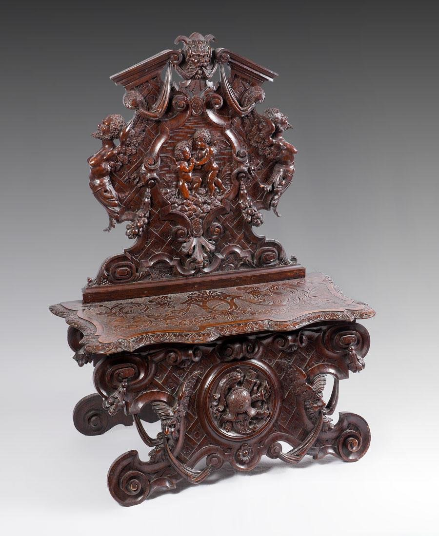 PROFUSELY CARVED RENAISSANCE REVIVAL HALL BENCH