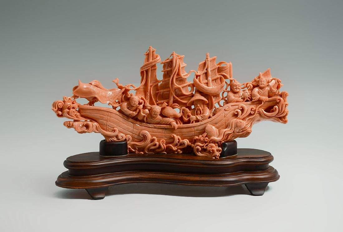 CHINESE CARVED CORAL GROUP OF FISHERMEN IN BOAT