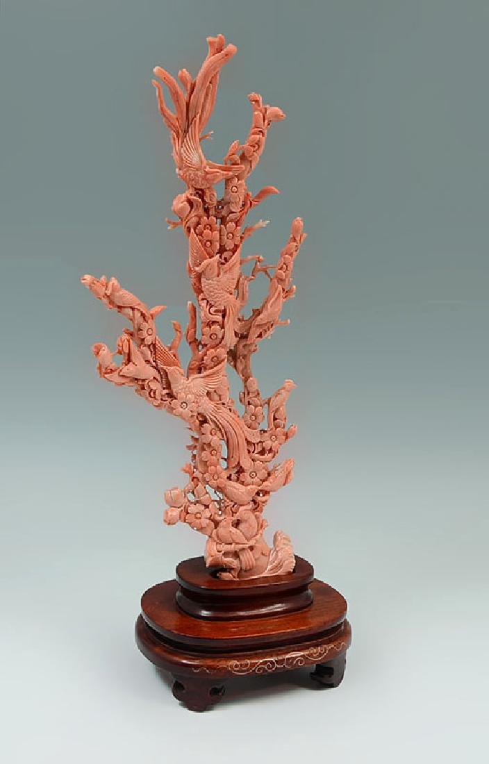 CARVED CORAL FIGURAL BIRDS OF PARADISE IN TREE