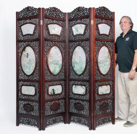 4 Panel Chinese Floor Screen With Jadeite Panels
