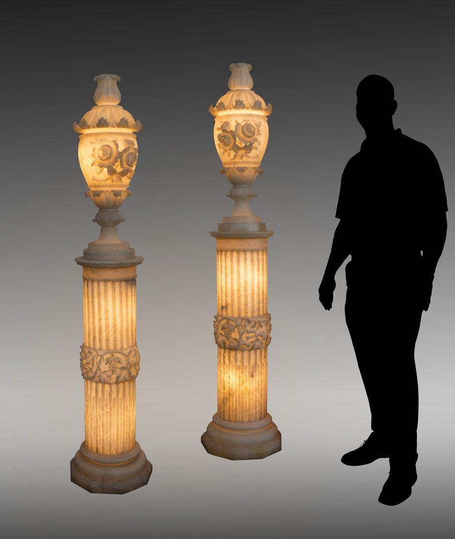 PAIR 19TH C. ALABASTER LIGHTED URNS ON PEDESTALS
