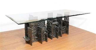 PAUL EVANS SCULPTED BRONZE DINING TABLE