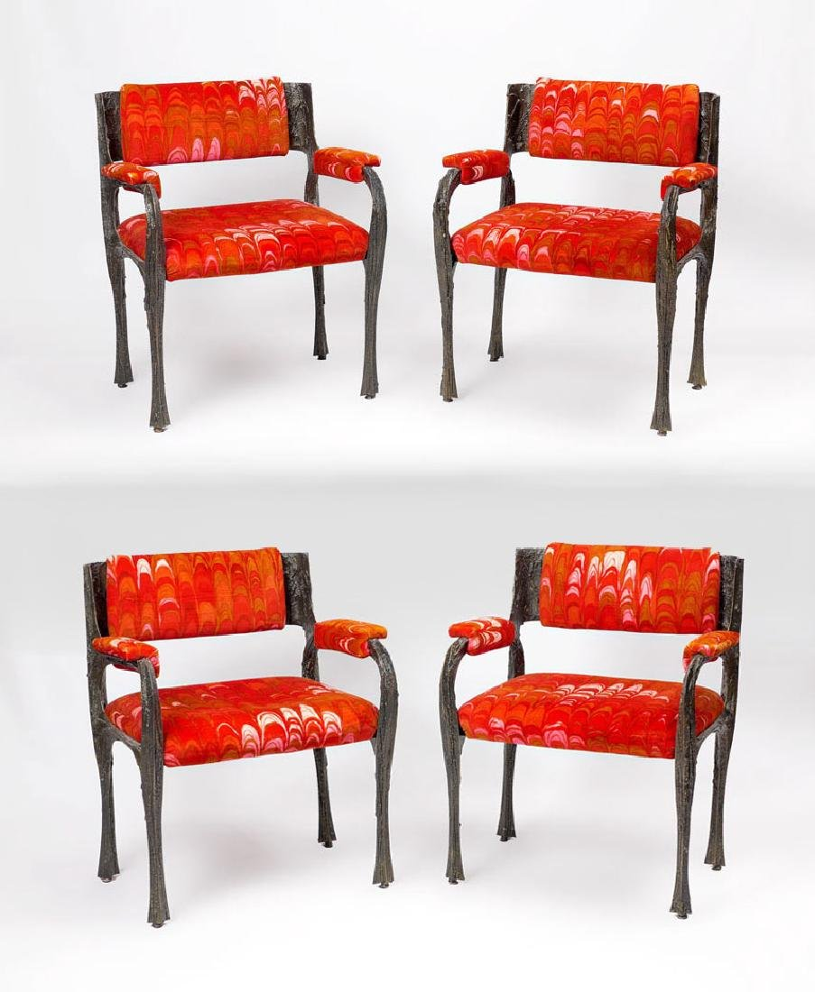 4 PAUL EVANS SCULPTED METAL ARM CHAIRS