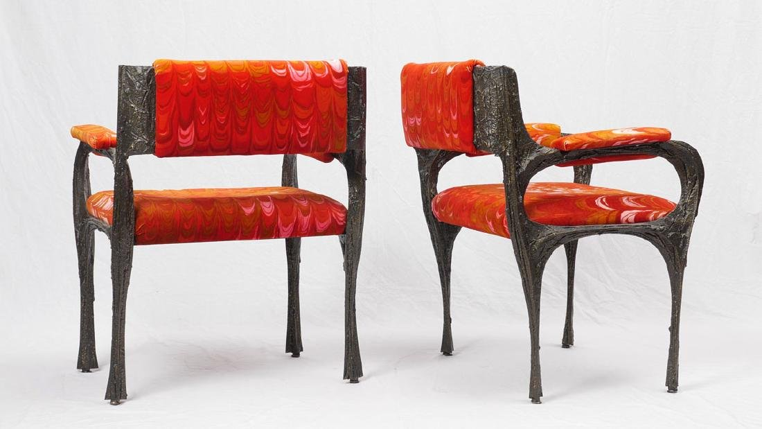 4 PAUL EVANS SCULPTED METAL ARM CHAIRS - 2