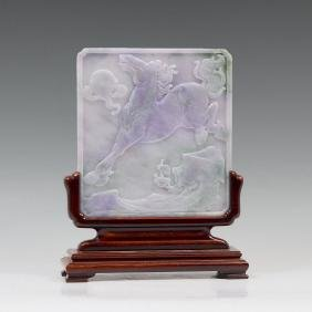 CHINESE CARVED LAVENDER JADEITE TABLE SCREEN