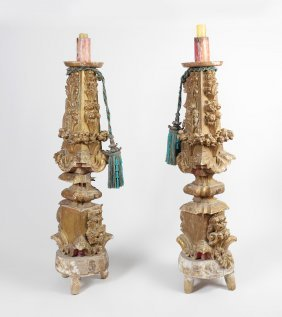 PAIR CARVED GILT WOOD FLOOR TORCHIERES