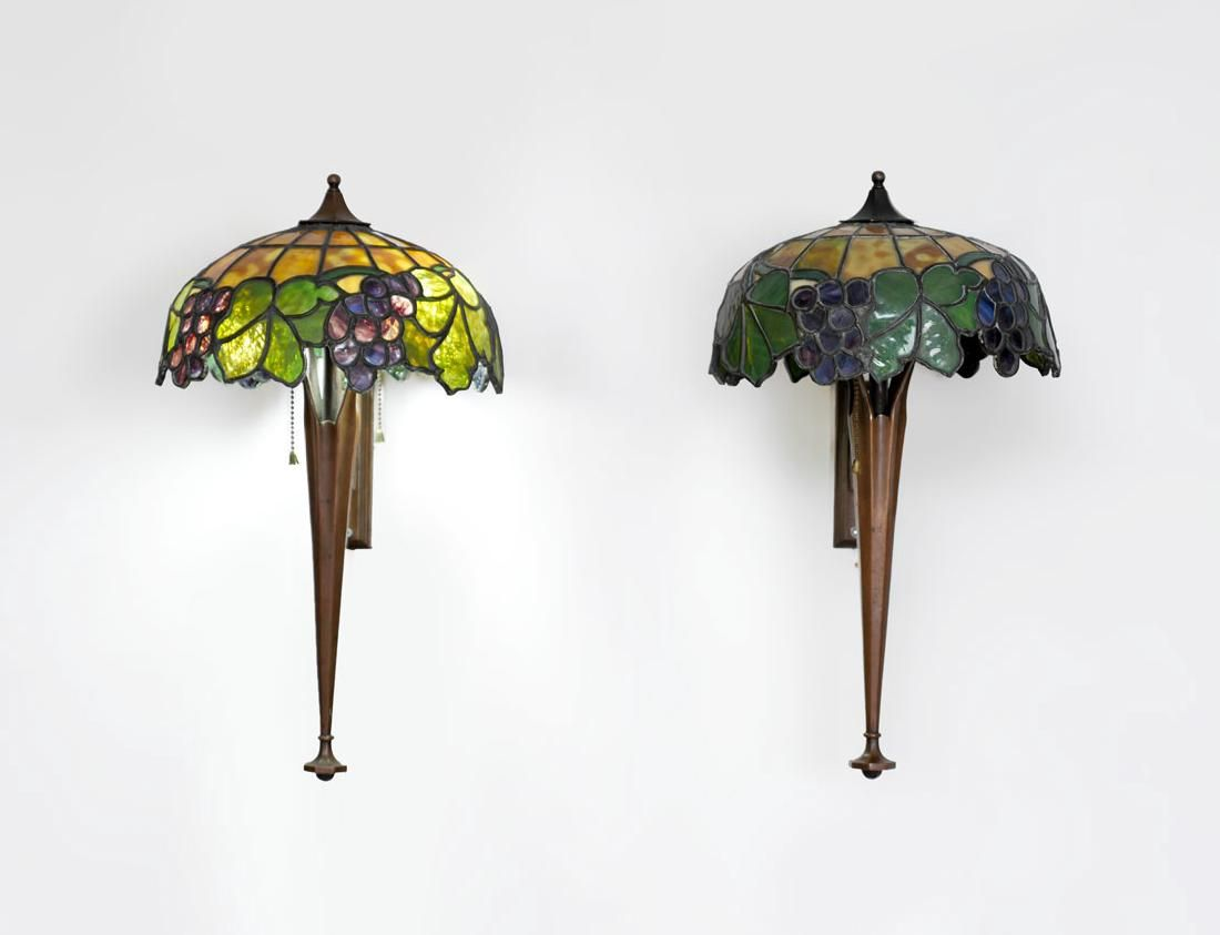 PAIR OF LEADED GLASS WALL SCONCES