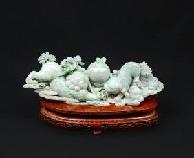 CHINESE CARVED JADEITE FOO DOGS FIGURAL GROUP