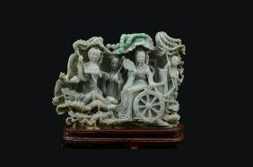 CHINESE CARVED JADEITE PROCESSION FIGURAL GROUP