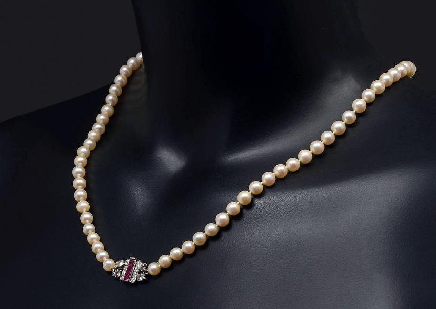 RARE CARTIER PARIS NATURAL PEARL NECKLACE /BURMA R