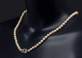 Cartier Paris Cultured Pearl Necklace/burma Rubies