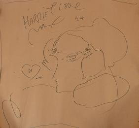 PETER MAX DRAWING LARGE FACE PROFILE