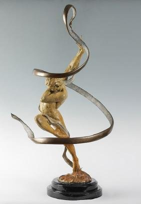 LARGE JAMES LACASSE KINETIC ''SILENT BOUNDS'' BRONZE