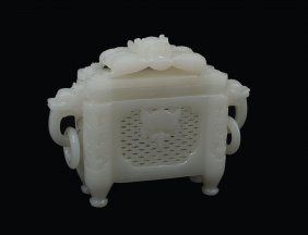 CHINESE CARVED WHITE JADE CENSER WITH DRAGON LID