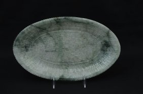 CHINESE SPINACH JADE CARVED PLATTER