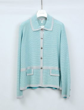 ESCADA TEAL AND SILVER BUTTON SWEATER WITH ORIGINAL TAG