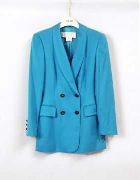 ESCADA BY MARGARETHA LEY TEAL DOUBLE BREASTED BLAZER