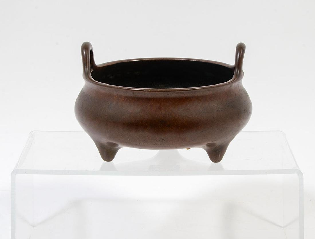 XUANDE MING DYNASTY TRI FOOTED BRONZE CENSER